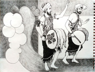Culture by Satish Multhalli, Illustration Drawing, Acrylic & Ink on Paper, Quill Gray color