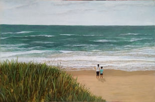 staring at the sea by Salil K. Sahu, Impressionism Painting, Acrylic on Canvas, Cotton Seed color