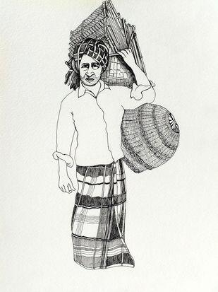 Village Sales Man by Satish Multhalli, Illustration Drawing, Acrylic & Ink on Paper, Tuatara color