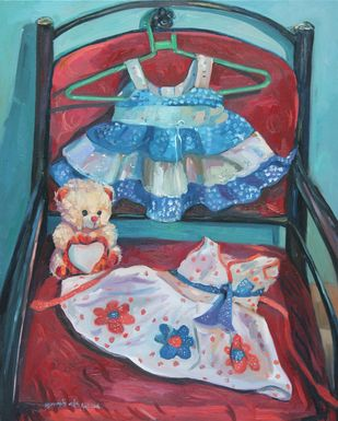Little angels Dress and teddy by Bhagyajyoti Arjun Naik, Expressionism Painting, Oil on Canvas, Emperor color