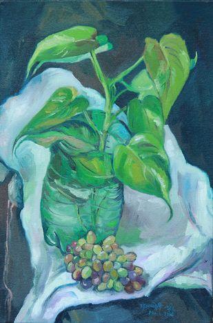 Money plant by Bhagyajyoti Arjun Naik, Impressionism Painting, Oil on Canvas, Faded Jade color
