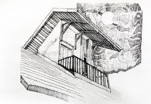 The Balcony Digital Print by Pooja Wadekar,Illustration