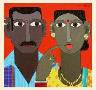 telangana Couple -7 by Kandi Narsimlu, Expressionism Painting, Acrylic on Canvas, Apricot color