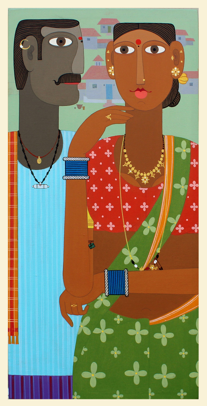 telangana Couple -8 by Kandi Narsimlu, Expressionism Painting, Acrylic on Canvas, Mule Fawn color