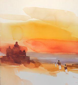 Sandhya vandana_ evening prayer by Prashant Prabhu, Impressionism Painting, Watercolor on Paper, Grain Brown color