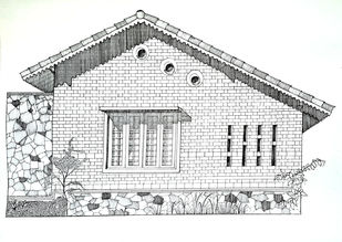 Vashi Farm House by Pooja Wadekar, Illustration Painting, Pen & Ink on Paper, Gray Nurse color
