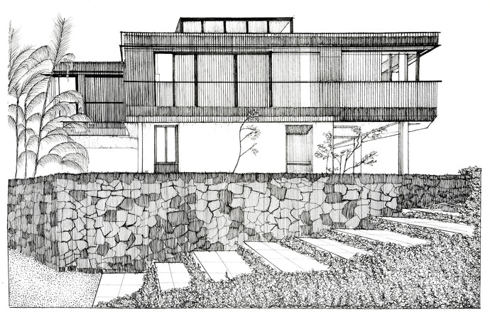 Alibaug House by Pooja Wadekar, Illustration Painting, Pen & Ink on Paper, Quill Gray color