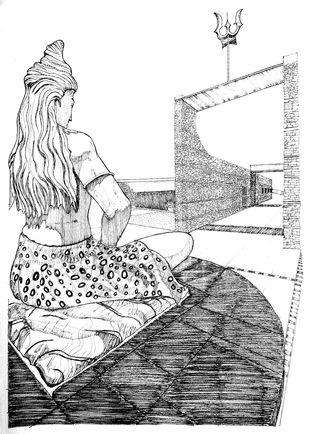 Shiva by Pooja Wadekar, Illustration Painting, Pen & Ink on Paper, Eerie Black color