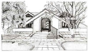 Vernacular House by Pooja Wadekar, Illustration Painting, Pen & Ink on Paper, Timberwolf color