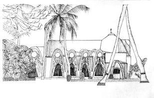 St George Orthodox Koonan Kurishu Old Syrian Church by Pooja Wadekar, Illustration Painting, Pen & Ink on Paper, Mercury color