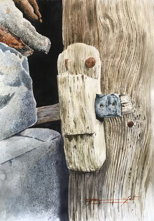 No entry by Rajat Subhra Bandopadhyay, Conceptual Painting, Watercolor and charcoal on paper, Ash color