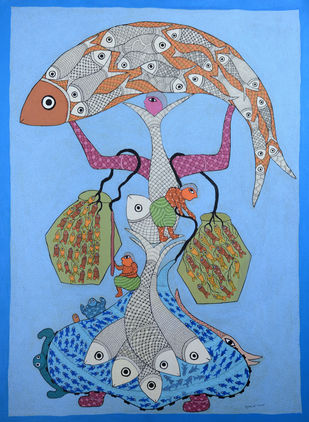 Untitled by Subhash Singh Vyam, Folk Painting, Acrylic on Canvas,