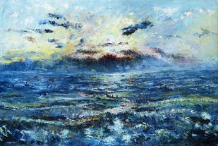 WAVES by A.Sathya, Expressionism Painting, Oil on Canvas, Ming color