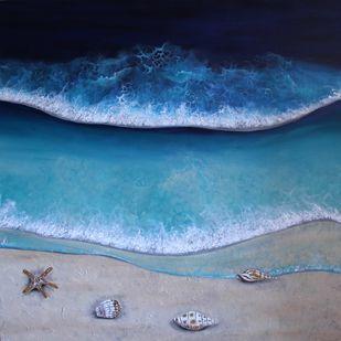 Little Treasures by Shveta Saxena, Expressionism Painting, Acrylic on Canvas, Bali Hai color
