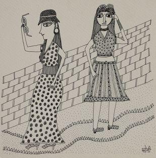 Jogi Art by Soni Jogi by SONI JOGI, Folk Drawing, Pen & Ink on Paper, Tide color