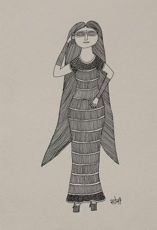 Jogi Art by Soni Jogi by SONI JOGI, Folk Drawing, Pen & Ink on Paper, Tea color