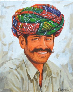 Turban 1 by Sanjay Soni, Expressionism Painting, Acrylic on Canvas, Tiara color