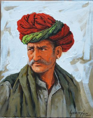 Turban 3 by Sanjay Soni, Expressionism Painting, Acrylic on Canvas, Jungle Mist color
