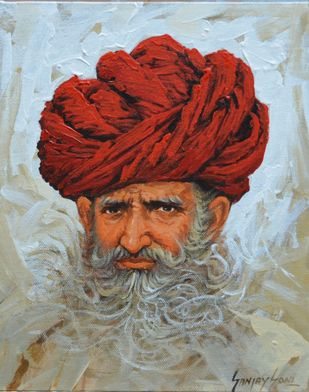 Turban 4 by Sanjay Soni, Expressionism Painting, Acrylic on Canvas, Edward color