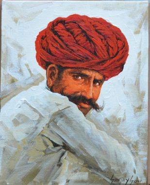Turban 5 by Sanjay Soni, Expressionism Painting, Acrylic on Canvas, El Salva color