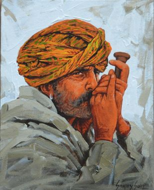 Turban 6 by Sanjay Soni, Expressionism Painting, Acrylic on Canvas, Roman Coffee color