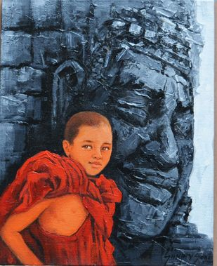 Monks 1 by Sanjay Soni, Expressionism Painting, Acrylic on Canvas, Antique Brass color