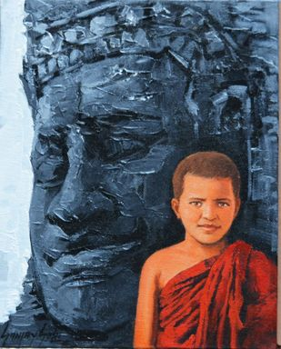 Monks 2 by Sanjay Soni, Expressionism Painting, Acrylic on Canvas, Eunry color
