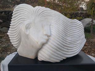 Beauty by Amit Kumar Singh, Art Deco Sculpture | 3D, Marble, Brass & Jaisalmer Stone, Spun Pearl color