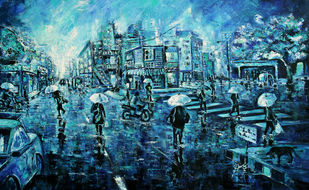 The Umbrella by Afshana Sharmeen, Expressionism Painting, Oil on Canvas, Big Stone color