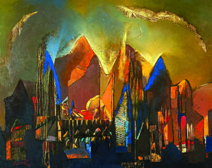 STRUCTURE  by Somenath Maity, Expressionism Painting, Oil on Canvas,
