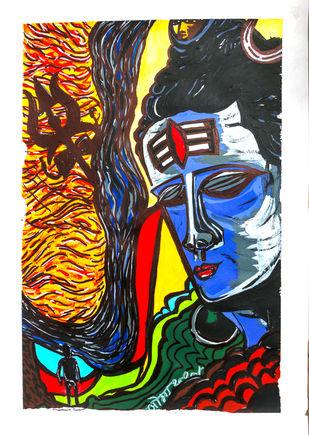 Gangadhar Shiva by Saumya Chakraborty, Expressionism Painting, Acrylic & Ink on Paper,