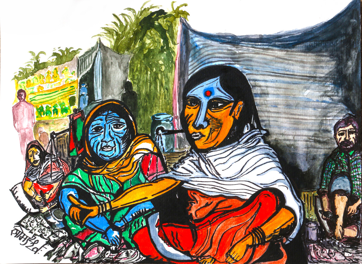 The Fish Sellers by Saumya Chakraborty, Expressionism Painting, Acrylic & Ink on Paper,