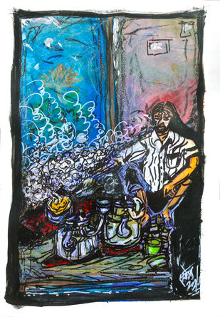 Chaiwala by Saumya Chakraborty, Expressionism Painting, Mixed Media and Pen on Paper,