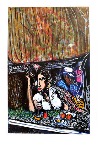 Lady in Cafe by Saumya Chakraborty, Expressionism Painting, Acrylic & Ink on Paper, Cameo color