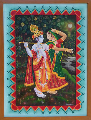 Radha Krishna Mud Painting by Durlabhji Makwana, Folk Painting, Terracotta, Armadillo color