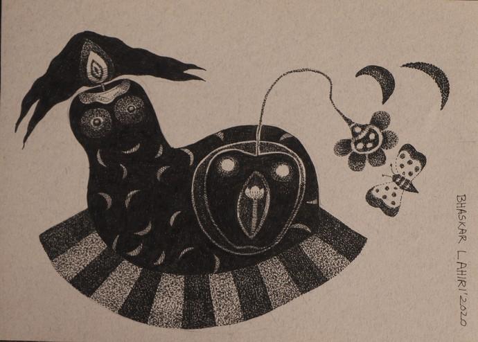 Drawing 9 by Bhaskar Lahiri, Illustration Drawing, Pen & Ink on Paper, Del Rio color