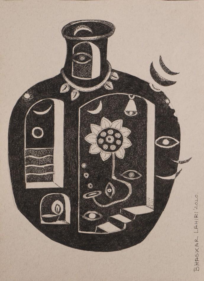 Drawing 7 by Bhaskar Lahiri, Illustration Drawing, Pen & Ink on Paper, Bison Hide color