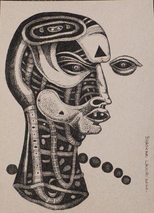 Drawing 11 by Bhaskar Lahiri, Illustration Drawing, Pen & Ink on Paper, Bison Hide color