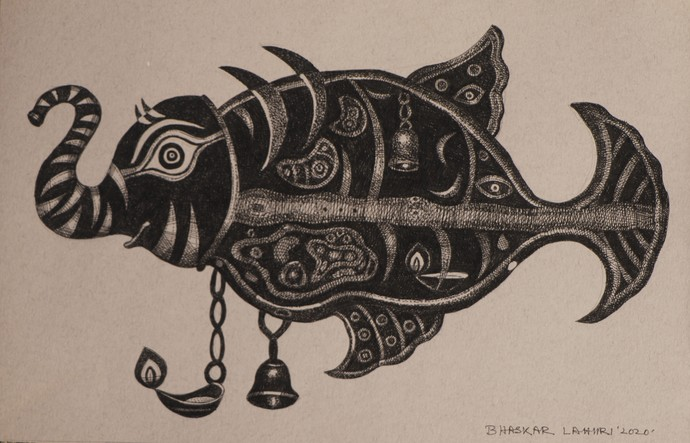 Drawing 12 by Bhaskar Lahiri, Illustration Drawing, Pen & Ink on Paper, Thatch color
