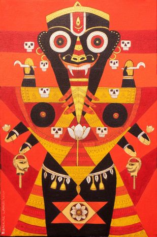 Tribal goddess by Bhaskar Lahiri, Expressionism Painting, Acrylic & Ink on Canvas, Cinnabar color
