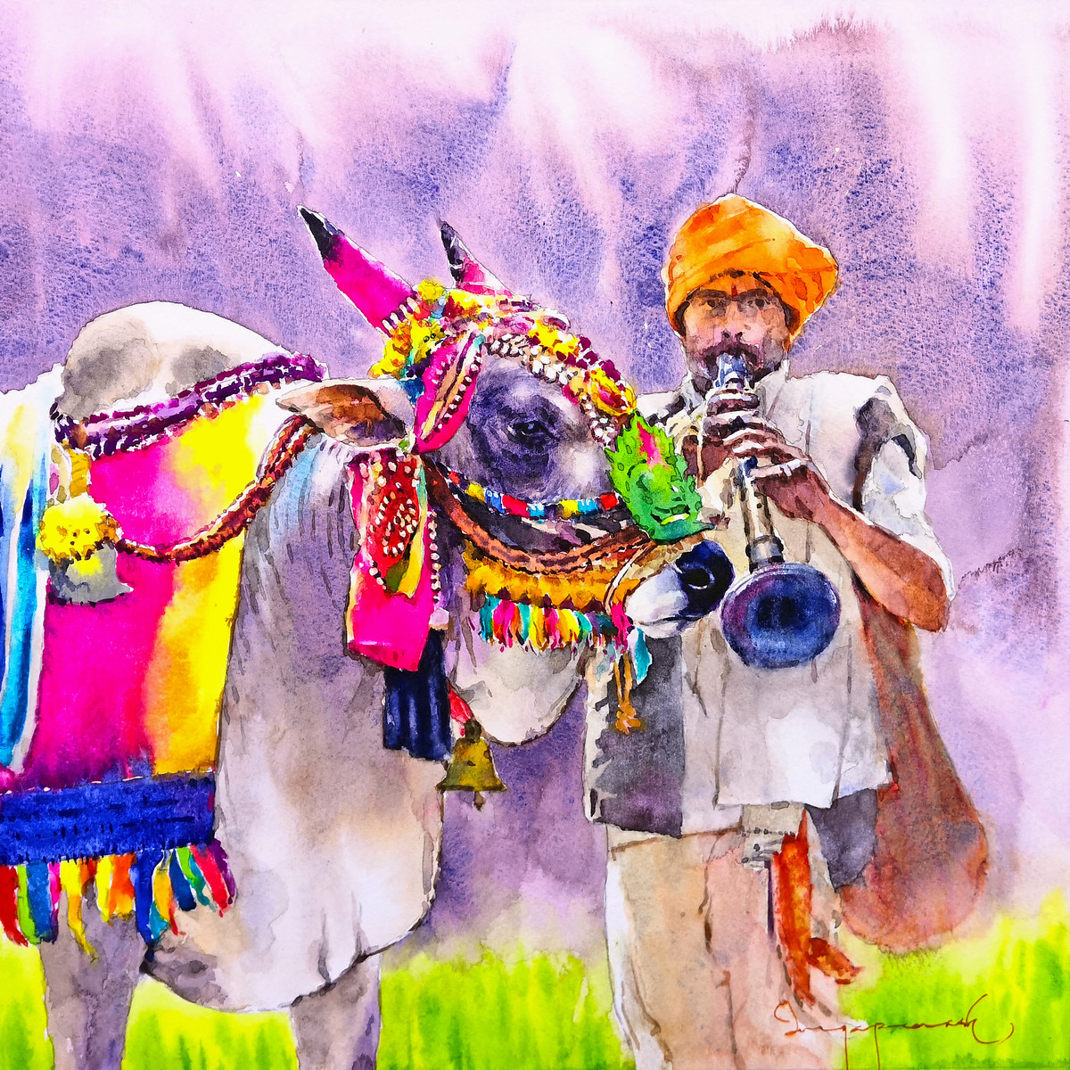 Gangireddu with Master by Jeyaprakash M, Expressionism Painting, Watercolor on Paper, Thistle color