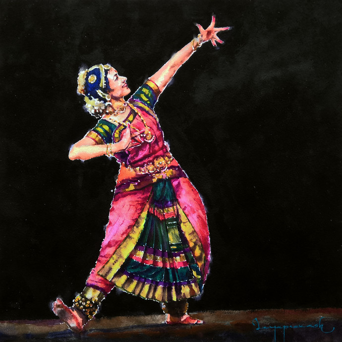 Classical Dancer by Jeyaprakash M, Expressionism Painting, Watercolor on Paper, New York Pink color