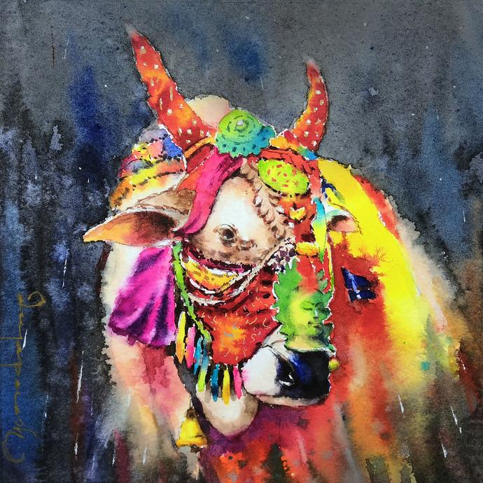 Gangireddu Mini version by Jeyaprakash M, Impressionism Painting, Watercolor on Paper, Mako color