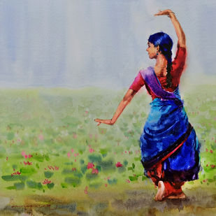 Classical Dancer with Lily pond by Jeyaprakash M, Expressionism Painting, Watercolor on Paper, Edward color