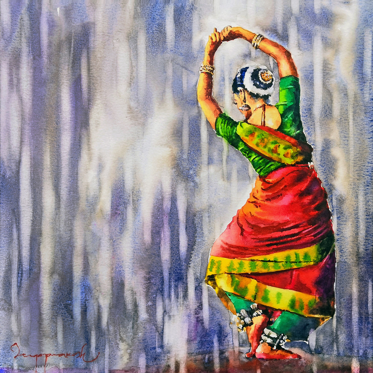Classical Dancer by Jeyaprakash M, Expressionism Painting, Watercolor on Paper, Manatee color