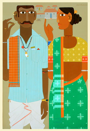 telangana Couple -9 by Kandi Narsimlu, Expressionism Painting, Acrylic on Canvas, Green color