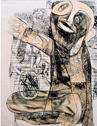 Life Inside 3 by Rajesh Kumar Singh, Illustration Printmaking, Etching on Paper, Dune color