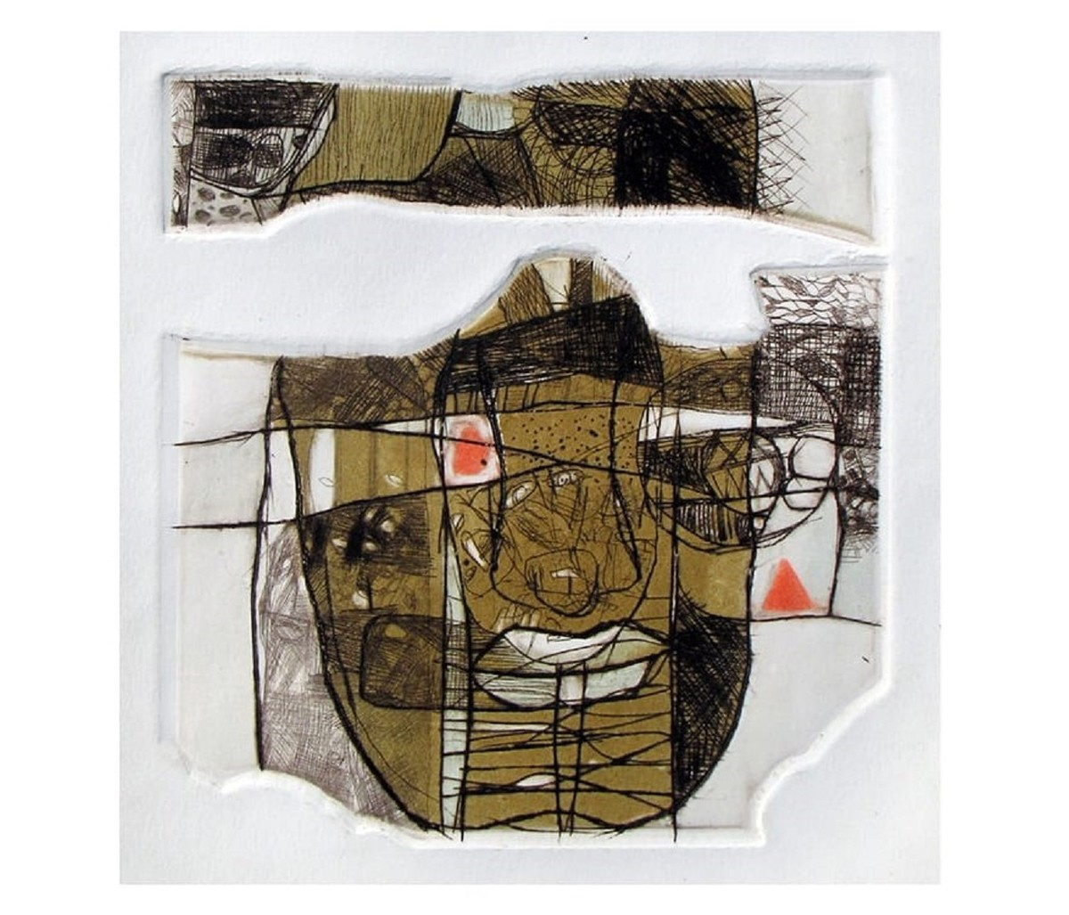 Face 6 by Rajesh Kumar Singh, Abstract Printmaking, Drypoint on Paper, Alto color