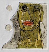 Face 4 by Rajesh Kumar Singh, Expressionism Printmaking, Drypoint on Paper, Cloud color