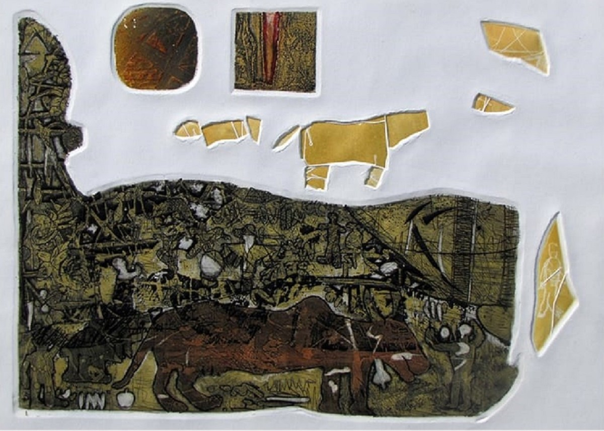 untitled by Rajesh Kumar Singh, Abstract Printmaking, Drypoint on Paper, Iron color